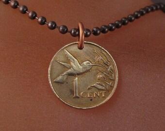 1999 HUMMINGBIRD necklace.Bird Jewelry. Hummingbird Jewelry.Hummingbird Charm.Bird lover Gift.Bird coin necklace,Trinidad .Tobago No.001188