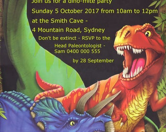 Dinosaur Birthday Party Invitation - Personalized Digital File