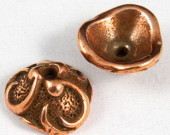 8mm Antique Copper Tierracast Pewter Lily Bead Cap #CKC045