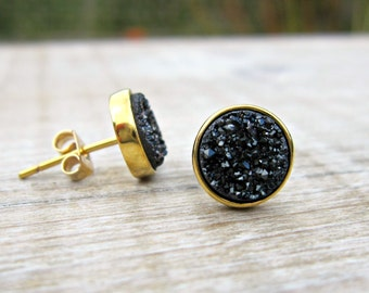 Black druzy earrings, black druzy studs, 18k gold plated earrings, bridal earrings, bridesmaid gift, raw stone, great gatsby jewelry