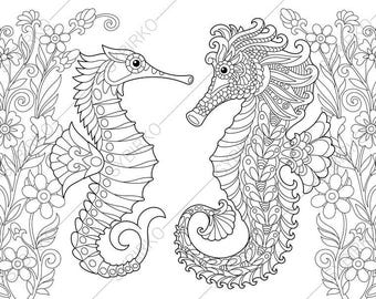 Seahorse in Love. Flowers. Coloring Page for Valentines day greeting card. Animal coloring book pages for Adults. Instant Download Print