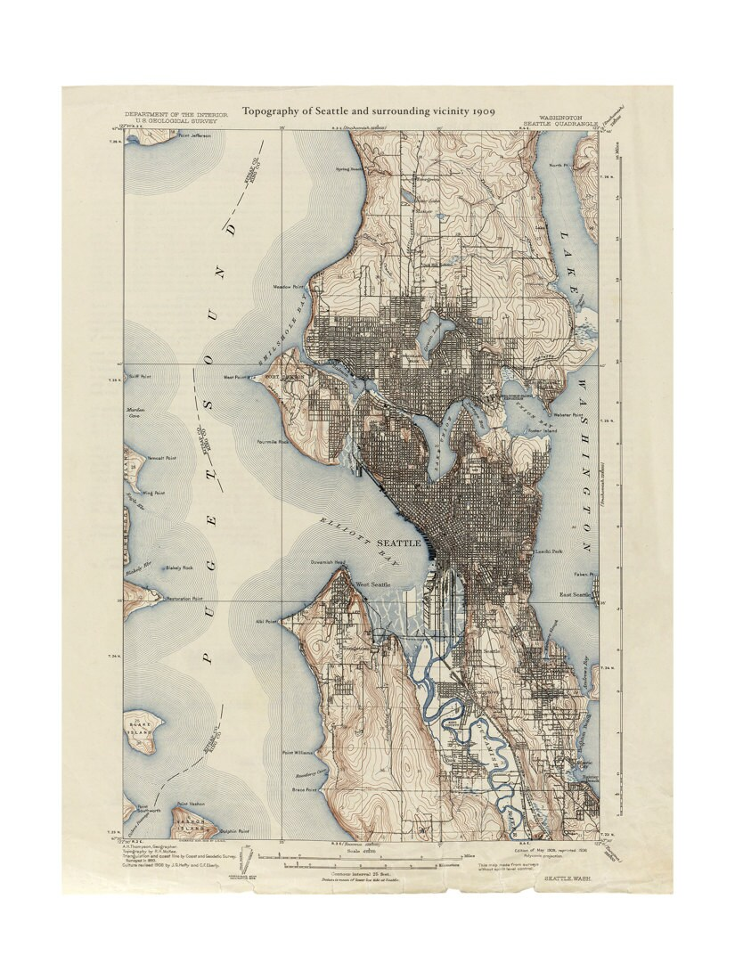 1909 Topographic Map of Seattle Old Maps and Prints Emerald City
