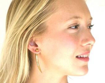 Fake Gauge Earrings - Talon Earrings - Tribal Earrings - Brass Spike Earrings - Claw Earrings - Spear Earrings - Mens Earrings (B64)