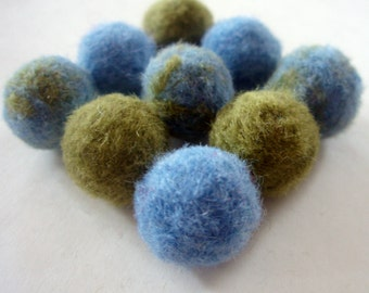 9 Felted Ball Beads - Earth Day Needle Felted Beads - Felt Beads - Green & Blue Wool Balls - Marbled and Solid Soft Wool Needlefelted Beads