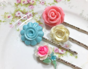 Floral Hair Accessories, Pastel Bobby Pin Set, Flower Bobby Pins, Pink Rose Flower Pin, Off White Rose Pin, Blue Swirl Flower Hair Pin