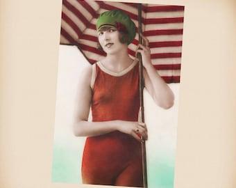 Art Deco Bathing Beauty New 4x6 Vintage Postcard Image Photo Print BB07