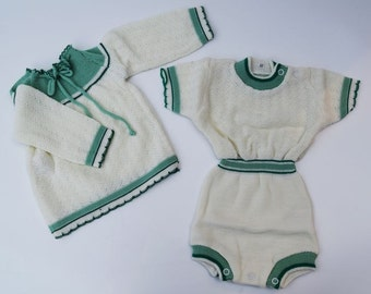 vintage twins set knits from Holland in the 1970's new old stock baby twins girl boy size newborn reborn twins baby clothes 0 months new