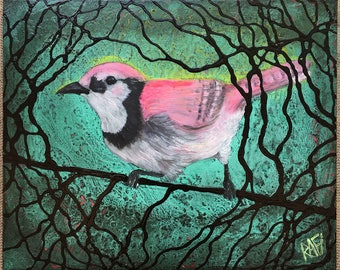 Pink Bird Out Of The Woods Original Painting by Artist Rafi Perez Mixed Medium on Canvas 16X20