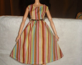 Mad Men inspired multi colored striped dress for Fashion Dolls - ed333