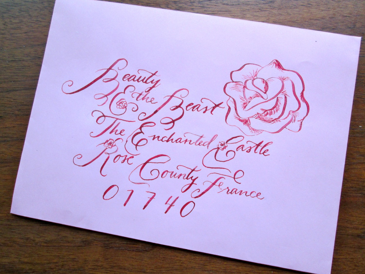 Calligraphy Wedding Envelope Addressing--Beauty and the Beast Font ...