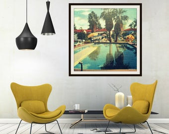 Swimming Pool Decor, Pool House Decor, Beach Bathroom Art For Bathroom, Art Deco Decor, Swimming Pool Art Deco Art, Square Art Vintage Art