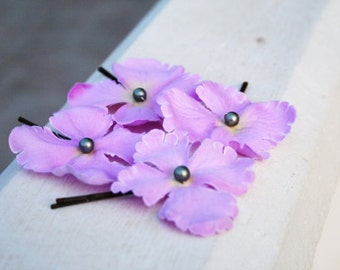 Lilac Flower Bobby Pins, Hair Pin Set, Bridal Hair Pins, Hydrangea Blossoms, Chignon Pins, Wedding Hair Pins, Bridesmaids Bobby Pin Set