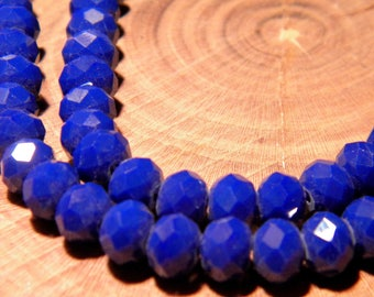 """20 faceted glass beads - 6 mm - way """"jade"""" - blue night - PG123 3"""