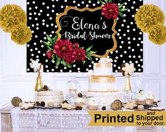 Bridal Shower Photo Backdrop, Wedding Shower Cake Table Backdrop - Engagement Backdrop, Personalized Party Backdrop, Custom Backdrop
