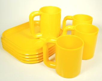 Vintage Groovy Bright Yellow Plastic Mug and Snack Tray Set of 4
