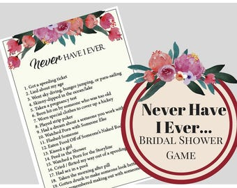 Boho Floral Never Have I Ever  Bridal Shower Game, Bachelorette Party Game, Printable Bachelorette Game, Hens Night Game
