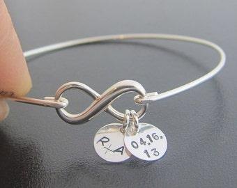 Sterling Silver Infinity Bracelet, Wedding Date Bracelet, Personalized Wedding Gift Idea for Bride Anniversary Date Jewelry, Infinity Bangle