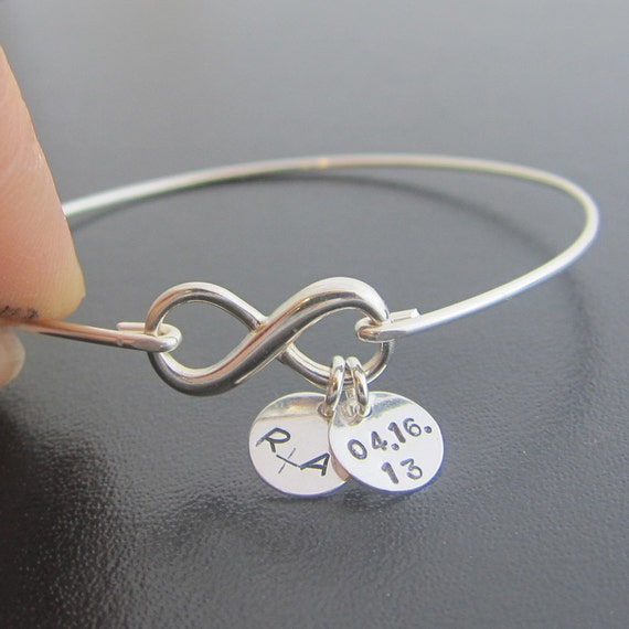 Sterling Silver Infinity Bracelet Wedding Date Bracelet