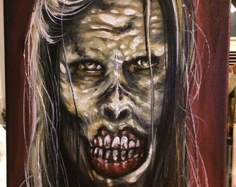 Zombie Undead Walking Dead Portrait Oil Painting