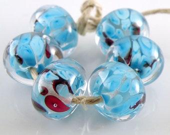 Cyanosaurous Encased SRA Lampwork Handmade Artisan Glass Donut/Round Beads Made to Order Set of 6 10x15mm
