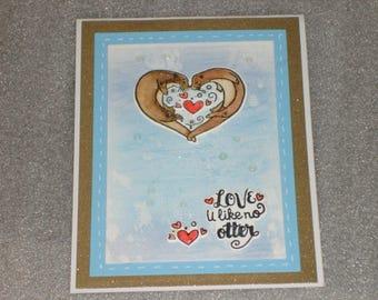 Handmade Valentine Anniversary Love Pun I Love U Like No Otter Card