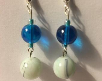 Blue and gray swirl acrylic bead earrings