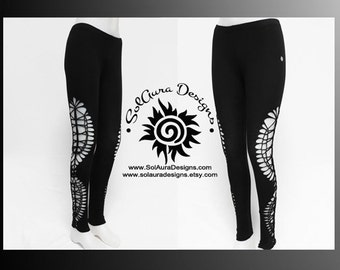 MOONDUST - Plus Size - Womens / Juniors Cut Up, Shredded and Weaved Black Leggings, Festival Wear, Burning Man Wear