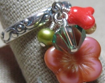 Spring Has Sprung Green, Pink & Peach Flowers Dangle Ring - R173