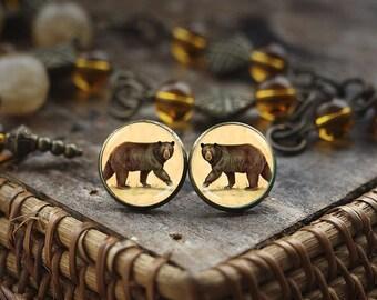 Bear stud earrings, Bear Antique bronze tone earrings, Bear Jewelry, Antique style Animal jewelry, art print bear earrings
