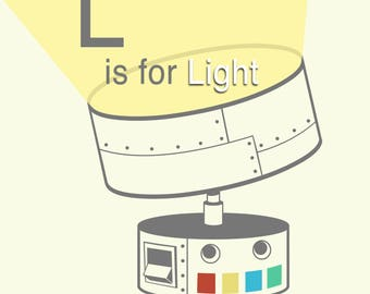 """Roboter-Alphabet-Druck - ist L für Licht, Baby-jungen-Kinderzimmer, Roboter Themen Kunst, Bad Kunst, Buchstaben L Kunst Druck, Roboter Kindergarten Druck, 8 """"x 8"""""""