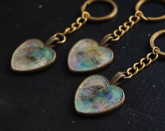 Holographic Heart Keyring Love Keychain Womens Gift Zipper Pulls for Purses Heart Keychain Metallic Heart Key chain Valentine keychain charm