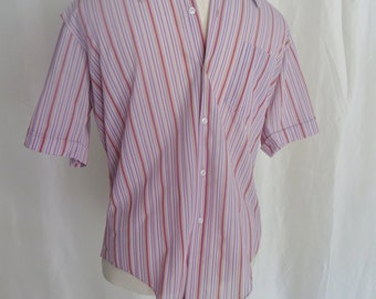 Vintage 60s mens button down shirt, short sleeve, mod retro lavender red yellow white stripe striped, Sir Walter, size 16