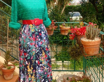 C & A Golden Gate Vintage 1980's floral pleated long skirt