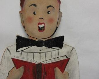 Vintage Wooden Choir Boy Sign