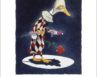Will Bullas / art print / a lonely heart ... just like Pagliacci... / humor / animals / duck