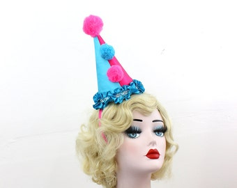 Pink and Blue Clown Hat, Circus Costume, Burlesque Headpiece, Halloween Costume, Birthday Party Hat, Kids, Adults, Carnival