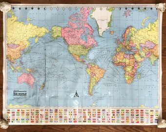 Giant world map etsy world wall map colorful vintage map large laminated map 1993 classroom map gumiabroncs Image collections