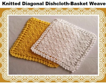 Basket Weave Knitting Pattern Knitted Dishcloth Washcloth Easy Beginner Instant download PDF