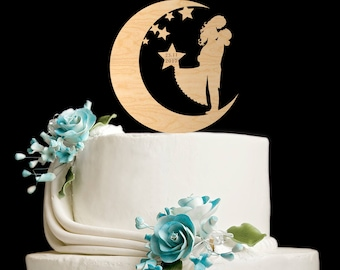 Moon cake topper,stars and moon cake topper,star cake topper,hunt is over cake topper,moon cake topper wedding,die jagd ist vorbei,5782017
