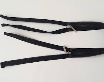 2 ends of long black 60 cm separable zipper