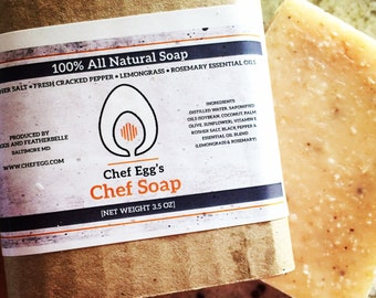 Chef Egg's Chef Soap - All Natural Soap made with Rosemary, Lemongrass, Salt and Fresh Pepper