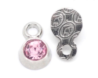 10 Pink Rhinestone Charms - 8x5mm - Ships IMMEDIATELY from California - SC969