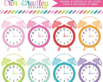 80% OFF SALE Alarm Clocks Clipart, Commercial Use Clip Art, Time Graphics