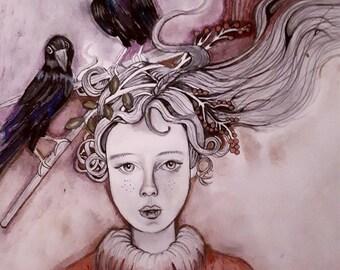 Raven Girl-print of original illustration.