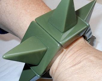 Sobral Lagerfeld Cones Retired Huge Runway Olive Cammo Green Punk Spike Bracelet
