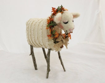 Sheep, Lammies  in Chenille  Jammies, Needle Felted Sheep, Felted Sheep #2779