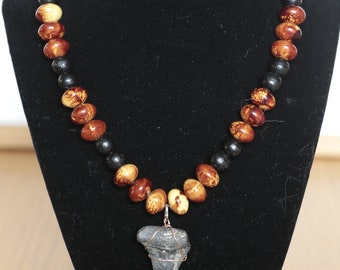 Brown and black beaded shark tooth necklace hand made one of a kind