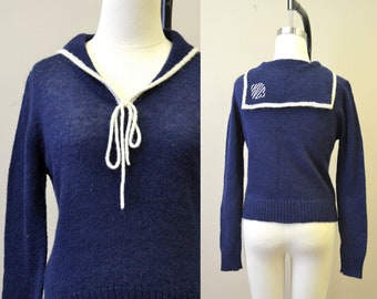 1970s The Villager Navy Middy Sweater