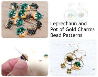 Mini Leprechaun & Pot of Gold Bead PATTERNS, St. Pattys Day Charms, Brick Stitch Bead Weaving
