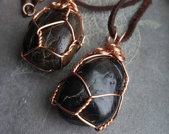 Black Jasper Healing Crystal Necklace/Metaphysical Healing Crystals/Wire Wrapped Jasper/Tumbled Black Jasper/Grounding and Protection